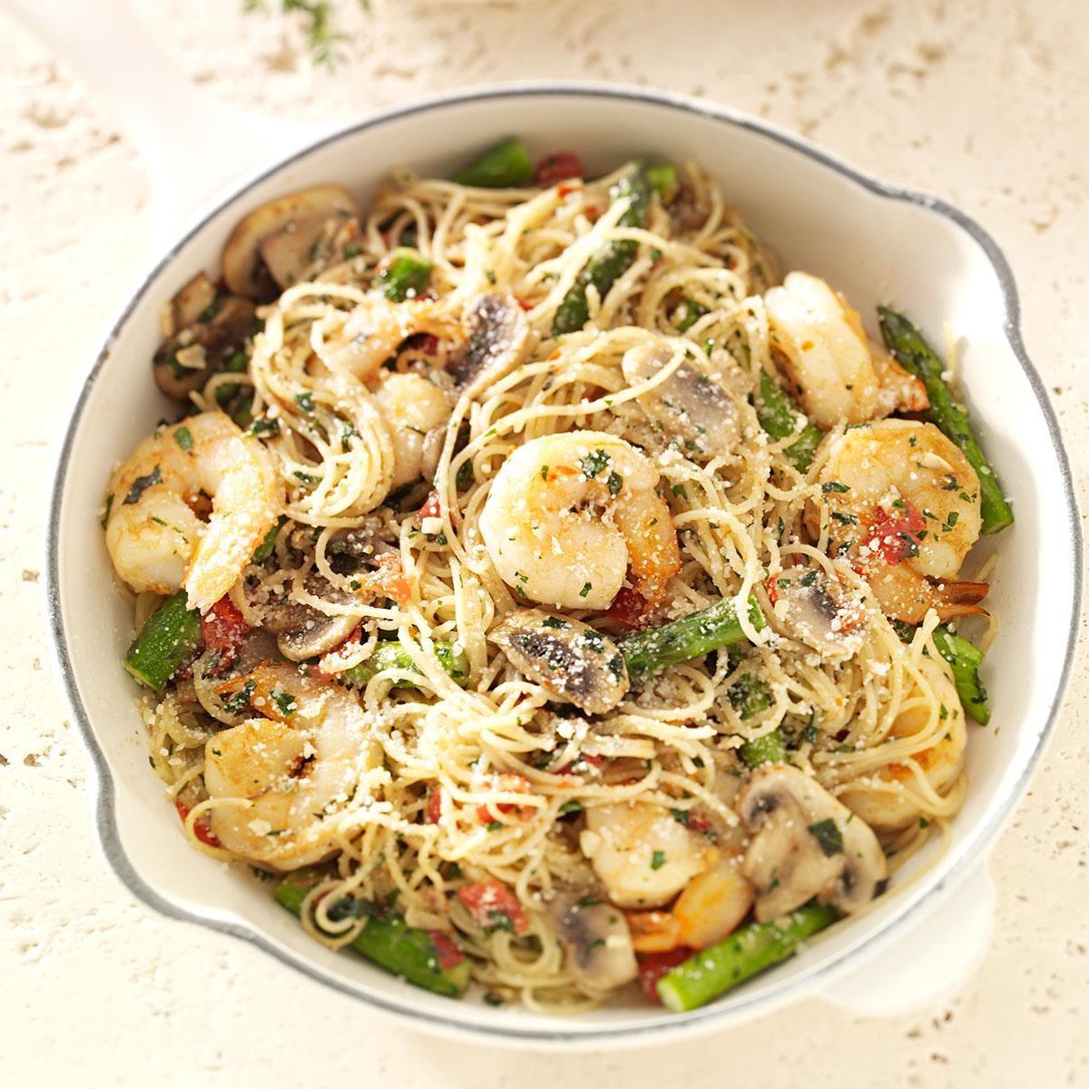 shrimp pasta primavera recipe taste of home