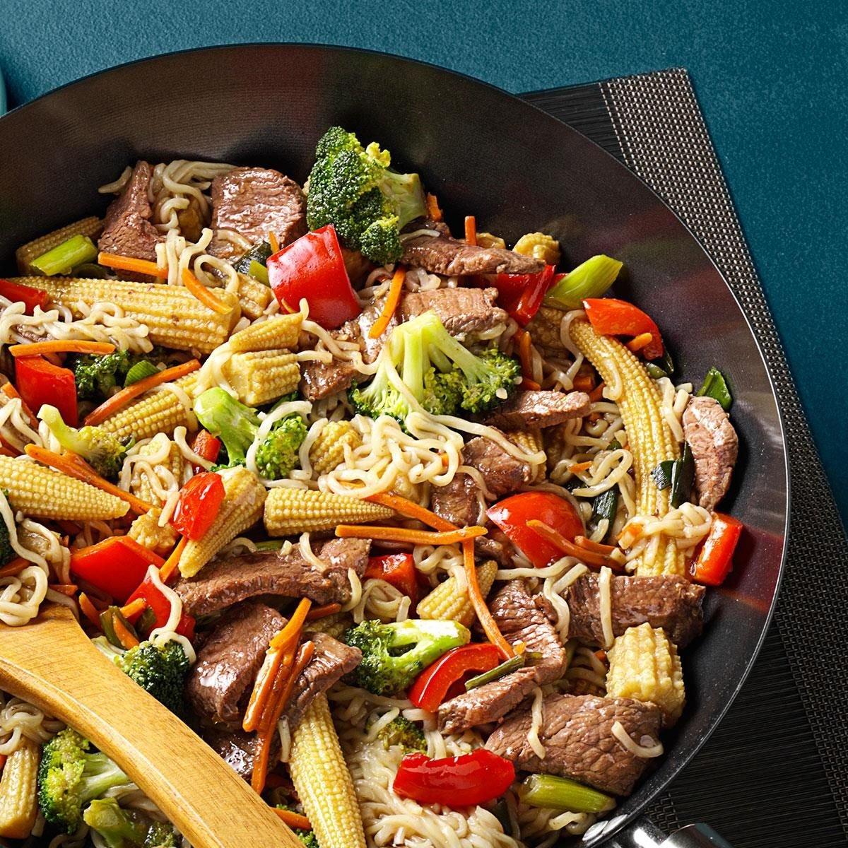 Red Cabbage And Fried Mortadella Okonomiyaki Recipes: Sirloin Stir-Fry With Ramen Noodles Recipe