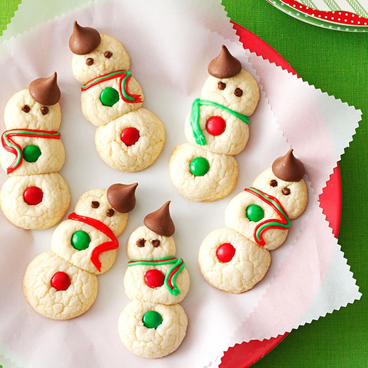 Snowman cookies recipe taste of home for Pics of christmas desserts