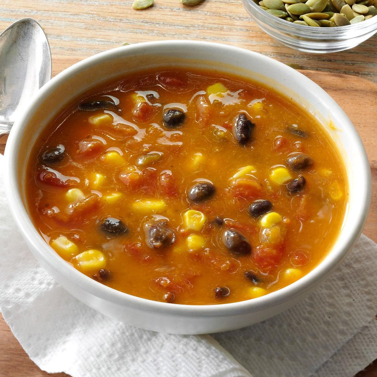 Spicy pumpkin corn soup recipe taste of home for Easy tasty soup recipes