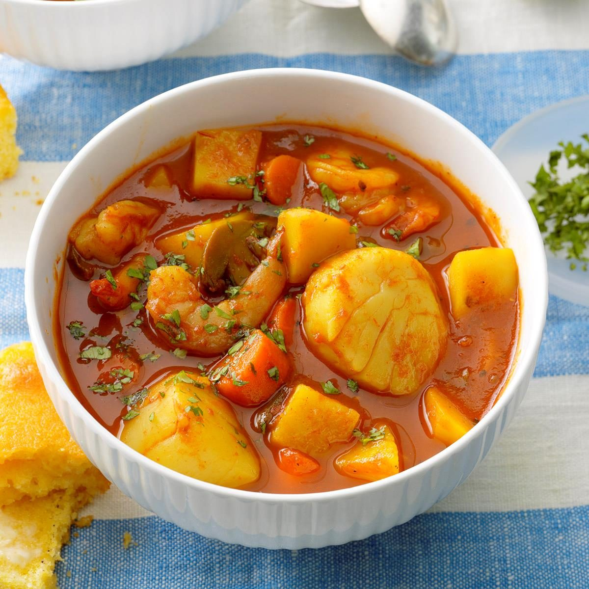 Spicy seafood stew recipe taste of home for Recipe for seafood stew