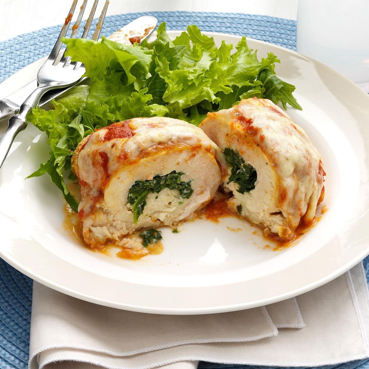 Spinach Stuffed Chicken Parmesan Recipe Taste Of Home