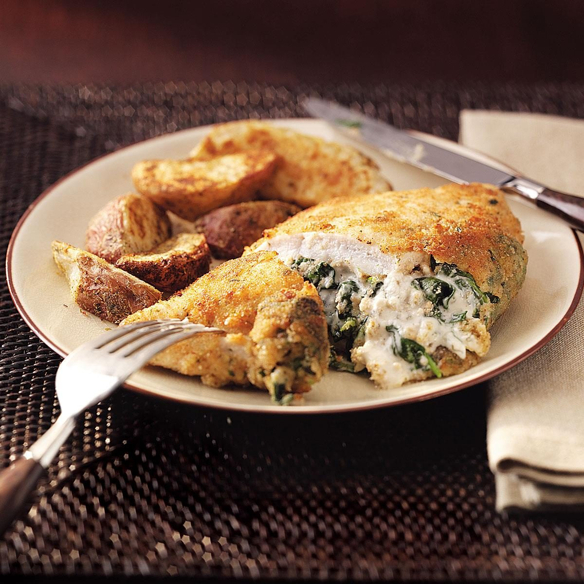Spinach Stuffed Chicken Pockets For Two