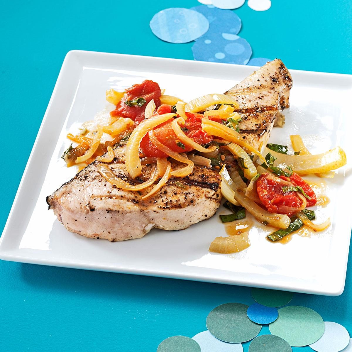 Swordfish with fennel and tomatoes recipe taste of home for Sword fish recipes