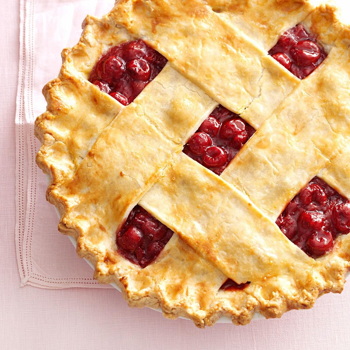 Tart Cherry Lattice Pie Recipe | Taste of Home