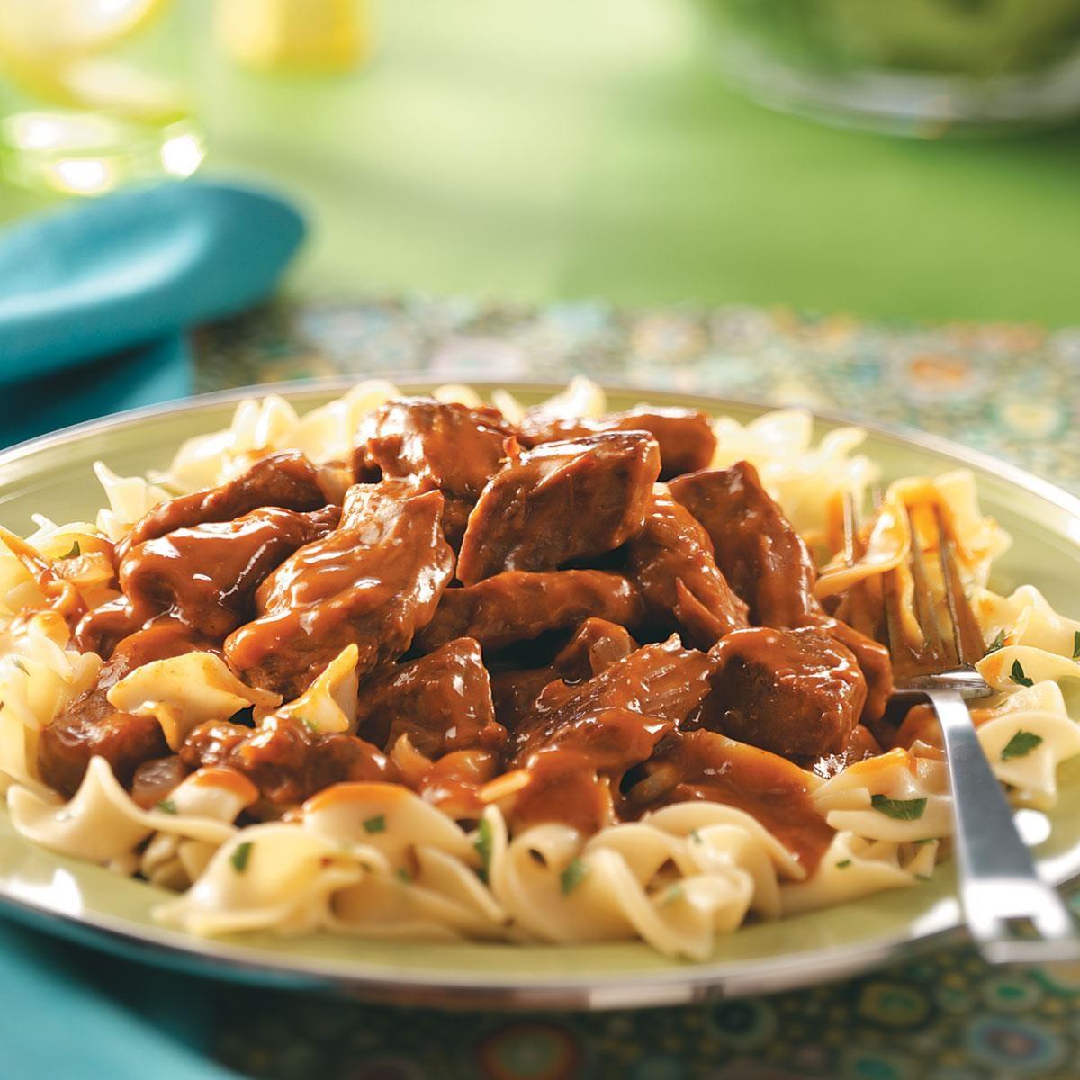 tender beef over noodles recipe taste of home. Black Bedroom Furniture Sets. Home Design Ideas