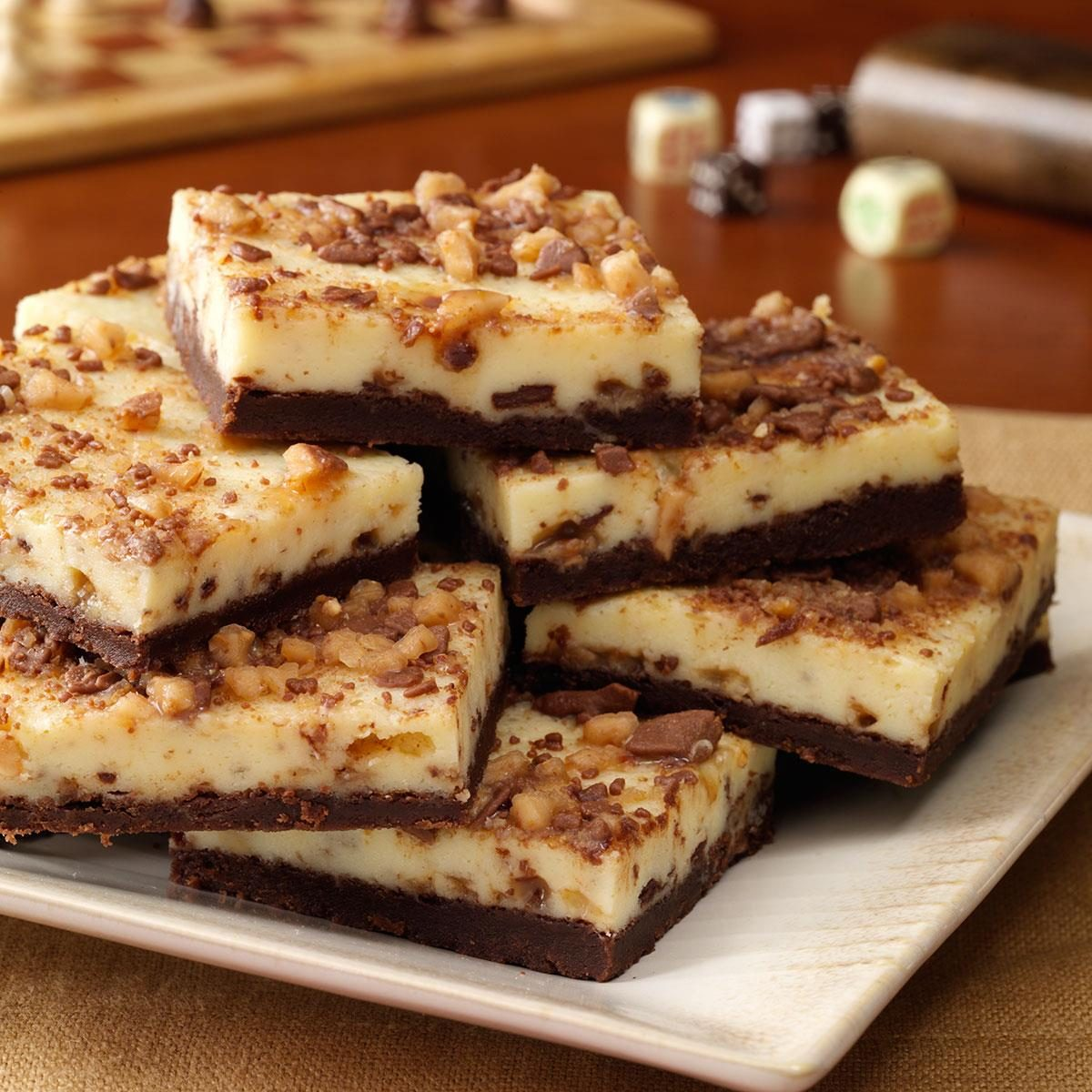 26 christmas bar recipes for sweet celebrations taste of home toffee cheesecake bars forumfinder Gallery