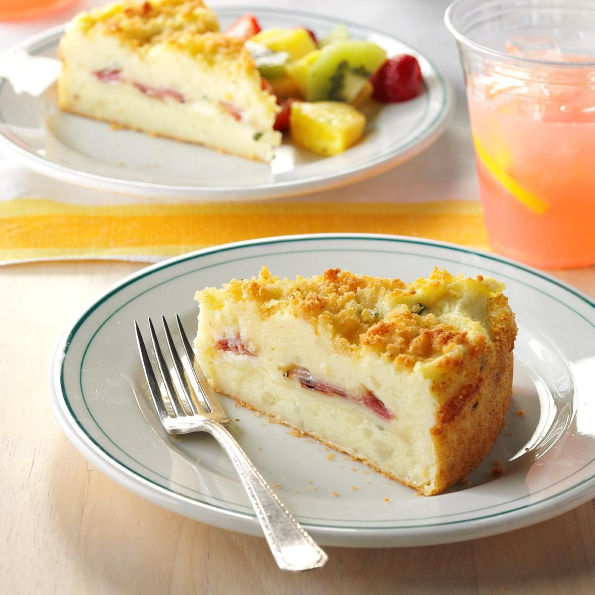 Triple Cheese Potato Cake with Ham Recipe | Taste of Home