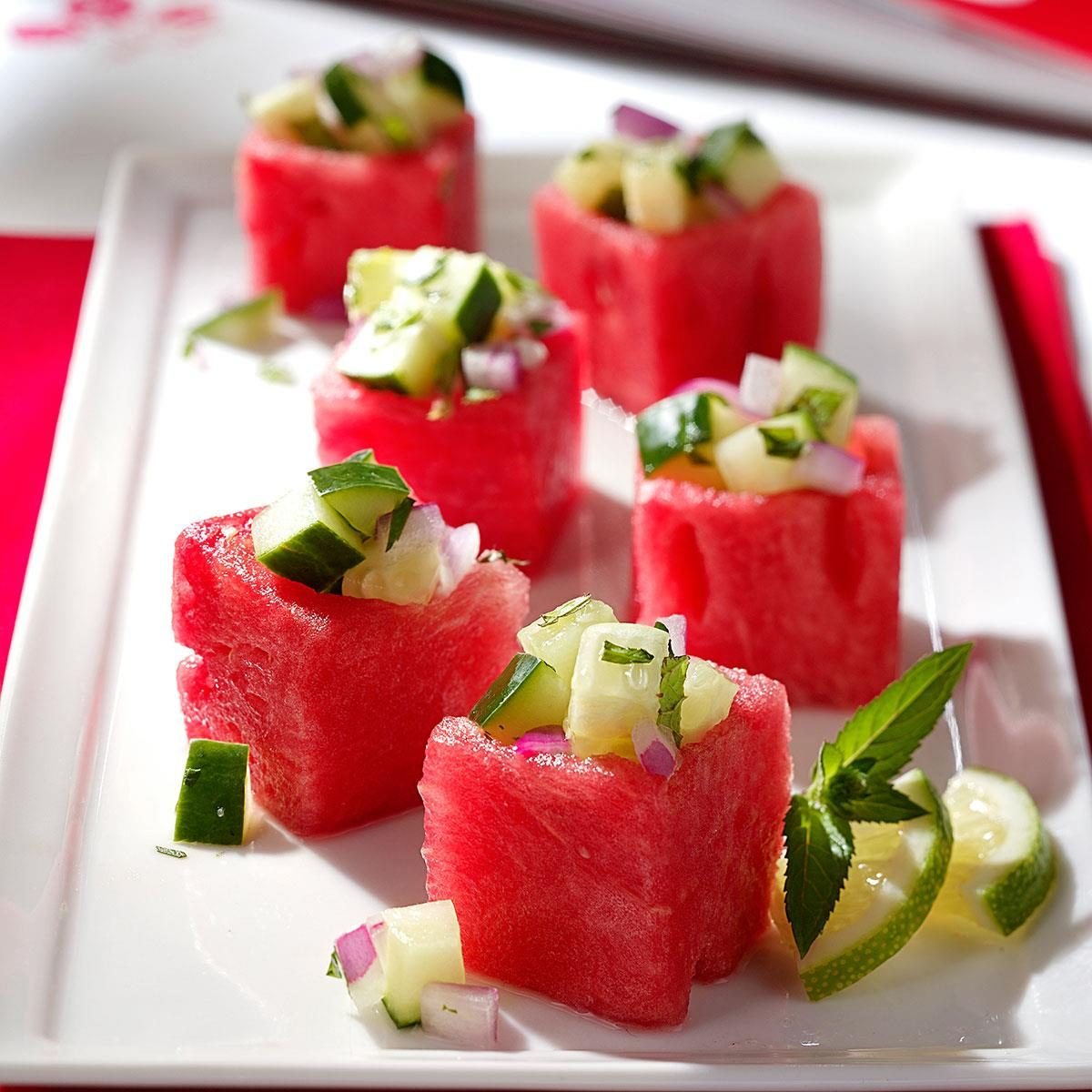 Watermelon cups recipe taste of home for Appetizers to make at home