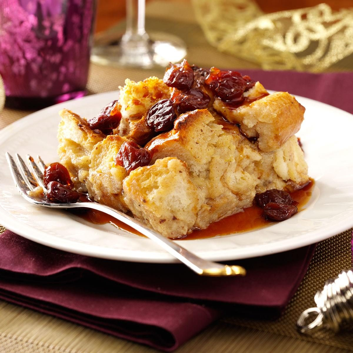 White Chocolate Bread Pudding with Tart Cherry Sauce Recipe ...