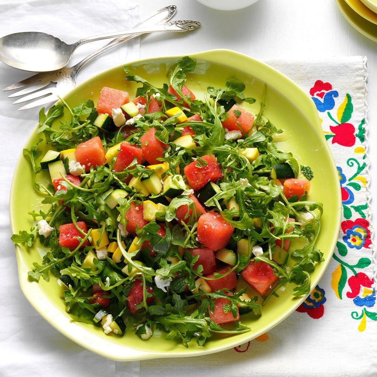 Yellow Squash & Watermelon Salad Recipe