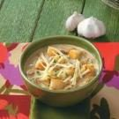 Crouton-Topped Garlic Soup for Two