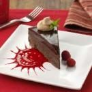 Chocolate Ganache Cake with Raspberry Sauce