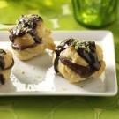 Chocolate-Filled Cream Puffs with Hot Fudge Sauce