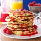 Chocolate Chunk Pancakes with Raspberry Sauce