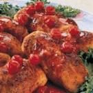 Chicken Roll-Ups with Cherry Sauce
