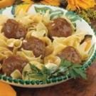 Tangy Meatballs Over Noodles