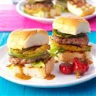 Pork Burgers with Grilled Pineapple & Peppers