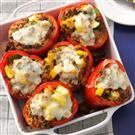 Vegetable & Beef Stuffed Red Peppers