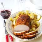 Apple Roasted Pork with Cherry Balsamic Glaze
