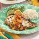 Halibut with Zesty Peach Salsa