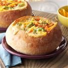 Cheesy Broccoli Soup in a Bread Bowl
