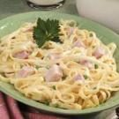 Creamy Fettuccine with Ham and Peas