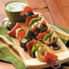Veggie Kabobs with Gingered Yogurt