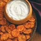 Spicy Sweet Potato Chips & Cilantro Dip
