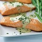 Grilled Salmon with Creamy Pesto Sauce
