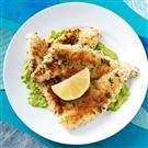 Herb-Crusted Perch Fillets with Pea Puree