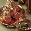 Herb-Crusted Rack of Lamb with Mushroom Sauce
