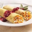 Goat Cheese and Butternut Squash Egg Crepes with Cranberry Apple Sauce