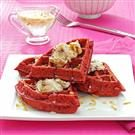 Red Velvet Waffles with Coconut Syrup