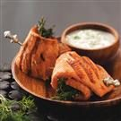 Salmon Spirals with Cucumber Sauce
