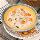 Seafood Chowder with Seasoned Oyster Crackers