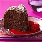 Triple-Chocolate Cake with Raspberry Sauce