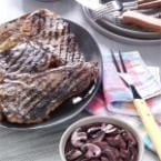 Garlic-Rubbed T-Bones with Burgundy Mushrooms Photo