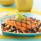 Grilled Salmon with Black Bean Salsa Photo