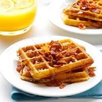 Bacon Potato Waffles with Cheddar Mornay Sauce Photo