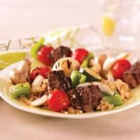 Steak and Vegetable Kabobs Photo