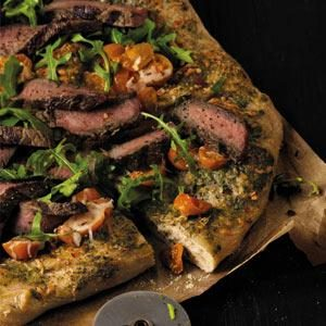 Pesto Steak & Arugula Pizza Recipe