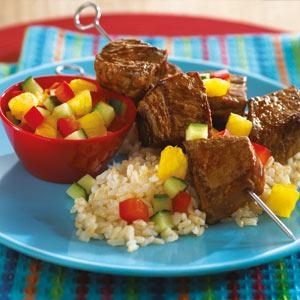 Hoisin BBQ Steak-On-A-Stick with Pineapple Salsa Recipe