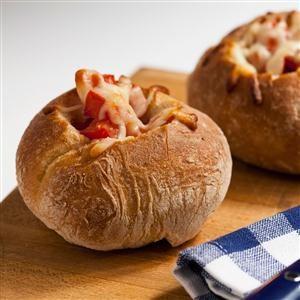 Egg Pizza Bread Bowls Recipe