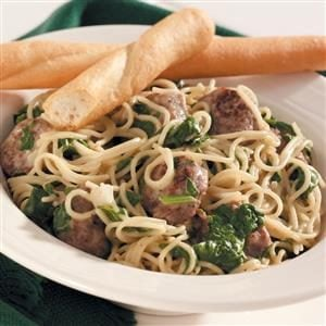 Angel Hair Pasta with Sausage & Spinach Recipe