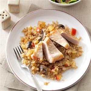 Apple-Balsamic Pork Chops & Rice Recipe