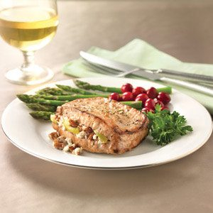 Apple, Goat Cheese & Pecan-Stuffed Pork Chops Recipe