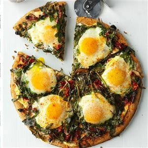 Arugula & Mushroom Breakfast Pizza Recipe