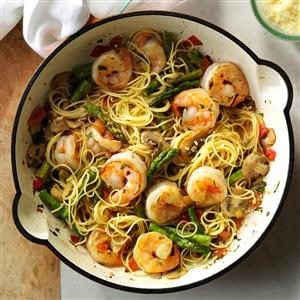 Asparagus 'n' Shrimp with Angel Hair Recipe