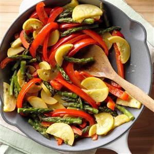 Asparagus, Squash & Red Pepper Saute Recipe